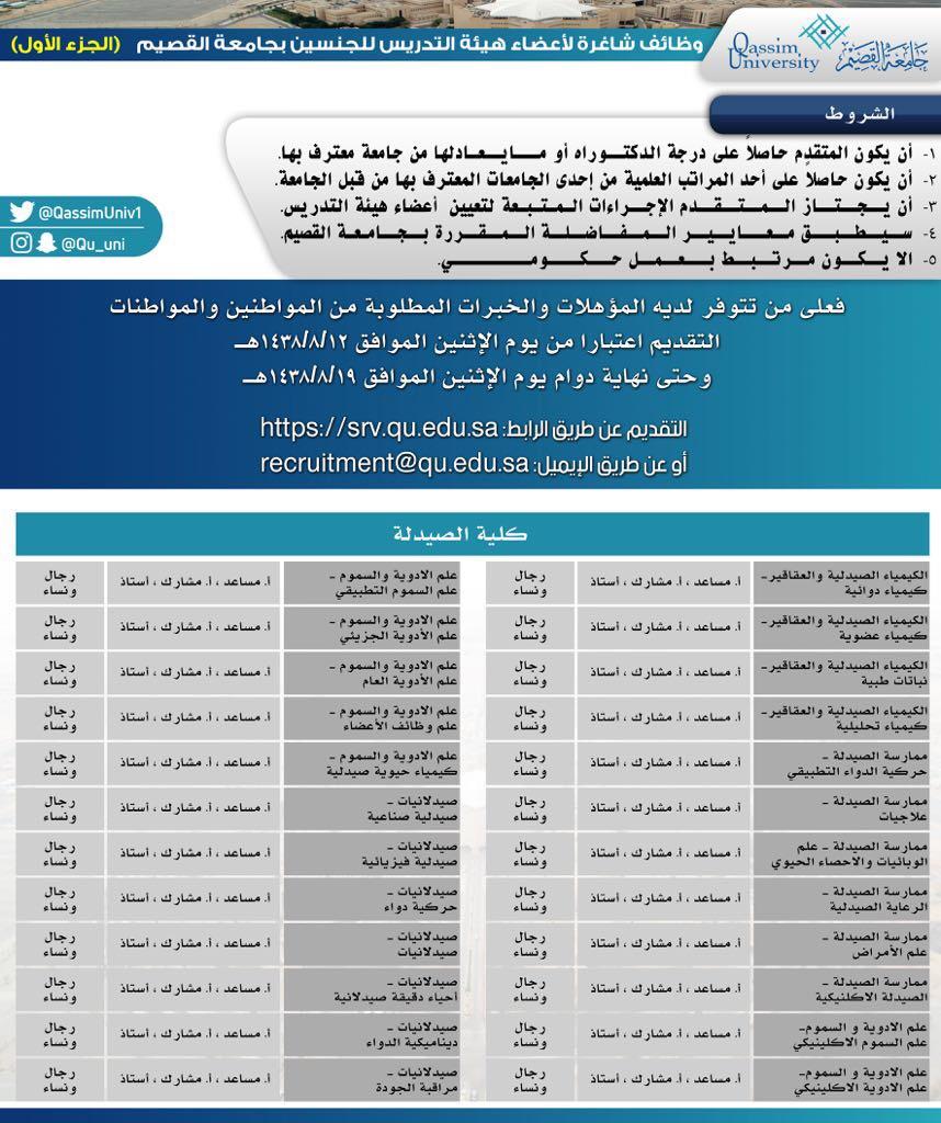 جامعة القصيم الجامعة تعلن عن طرح عدد من الوظائف لأعضاء هيئة التدريس من المواطنين للجنسين