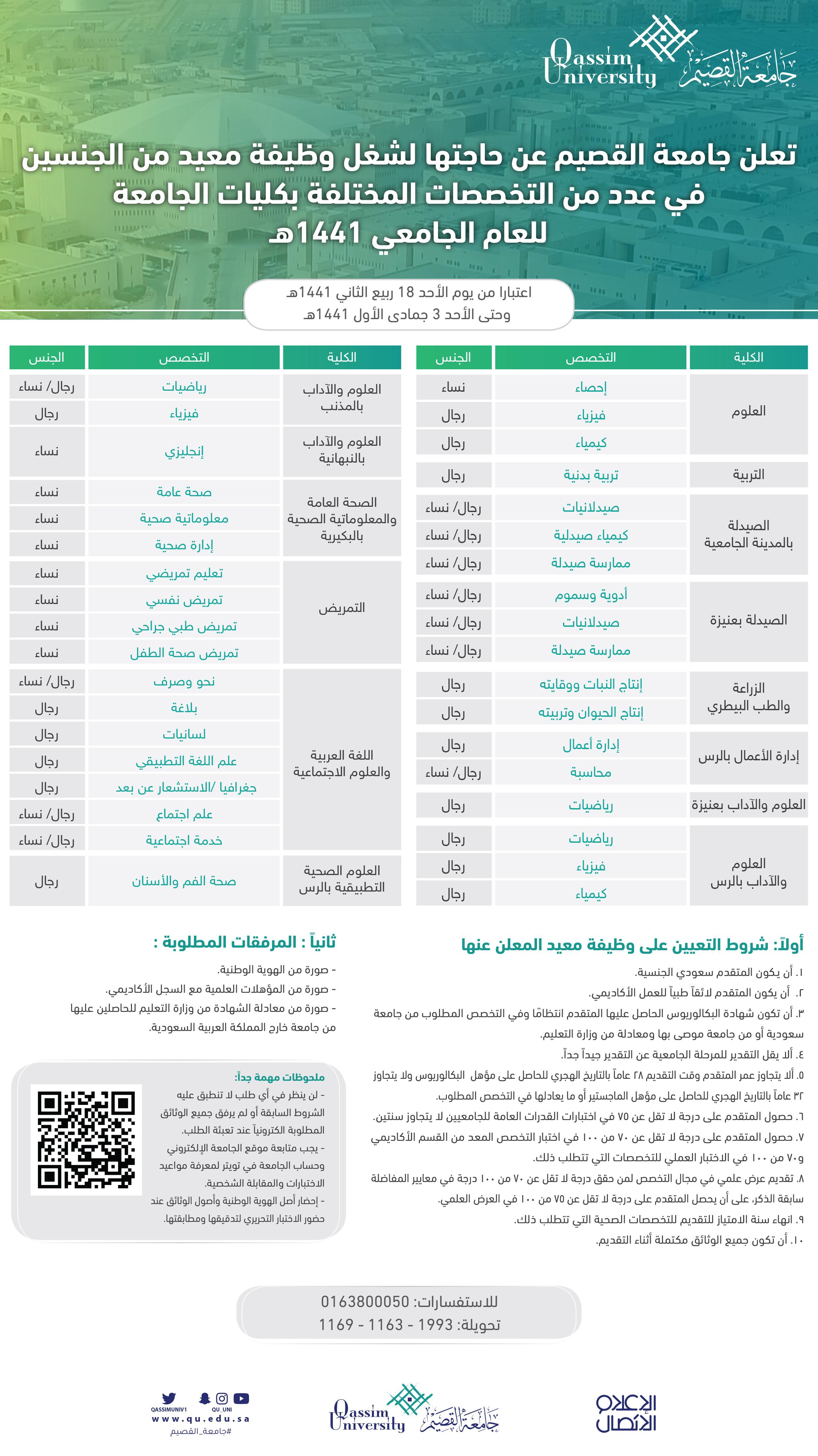جامعة القصيم تعلن الجامعة عن حاجتها لشغل وظيفة معيد من الجنسين